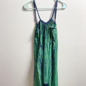 Blue green tie dye flowy dress